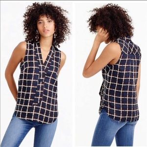J. Crew Sleeveless Windowpane square silk blouse